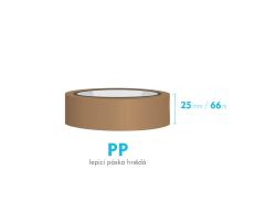 Lepící páska - 25mm x 66m - hnědá