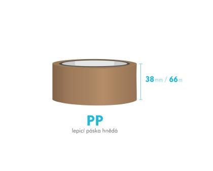 Lepící páska - 38mm x 66m - hnědá