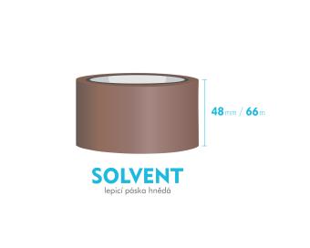 Lepící páska, hnědá - SOLVENT - 48mm x 66m