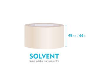 Lepící páska, průhledná - SOLVENT - 48mm x 66m