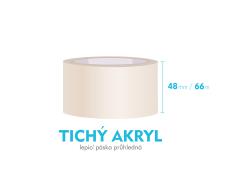 Lepící páska, průhledná - TICHÝ AKRYL - 48mm x 66m