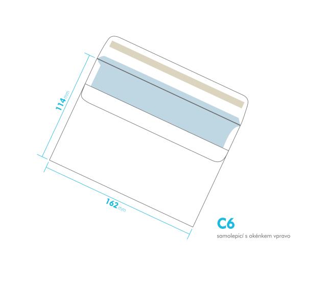 Dopisní obálka - C6 samolepící - okénko vpravo