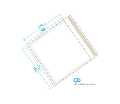 Bílá bublinková obálka CD vnitřní rozměr 175x165 mm