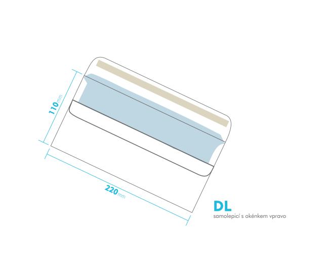 Dopisní obálka - DL samolepící - okénko vpravo