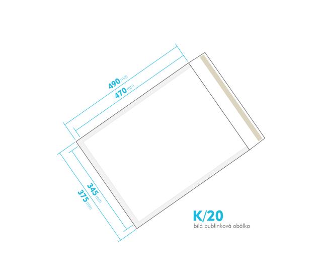Bílá bublinková obálka K/20 vnitřní rozměr 345x470 mm