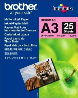 Fotopapír A3 Brother Photo Matt, 25 listů, 145 g/m2, matný, bílý, inkoustový (BP60MA3)