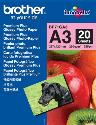 Fotopapír A3 Brother Glossy Photo, 20 listů, 260 g/m2, lesklý, bílý, inkoustový (BP71GA3)