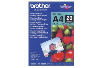 Fotopapír A4 Brother Glossy photo, 20 listů, 260 g/m2, lesklý, bílý, inkoustový (BP71GA4)