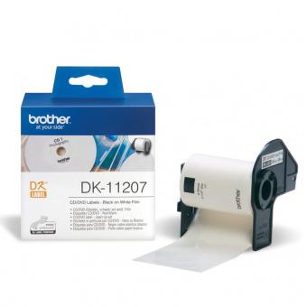 Originální etikety Brother DK-11207, papírové bílé, CD/DVD, průměr 58mm, 100ks