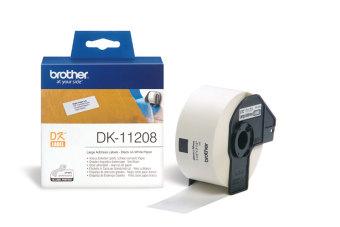 Originální etikety Brother DK-11208, papírové bílé, široké adresy, 38 x 90mm, 400ks