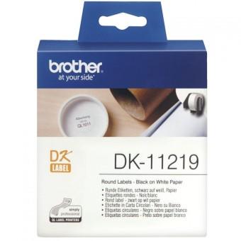 Originální etikety Brother DK-11219, papírové bílé, kulaté, průměr 12mm, 1200ks