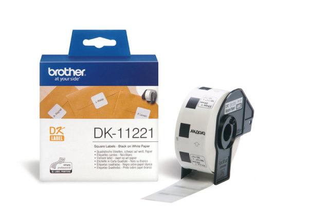 Originální etikety Brother DK-11221, papírové bílé, čtvercové, 23 x 23mm, 1000ks