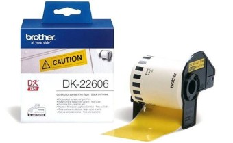 Originální etikety Brother DK-22606, žlutá filmová role, 62mm x 15,24m