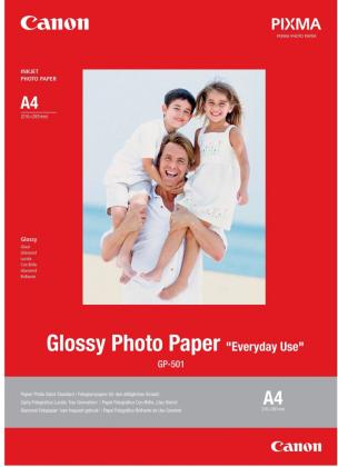 Fotopapír A4 Canon Glossy, 5 listů, 200 g/m2, lesklý, bílý, inkoustový (GP-501)