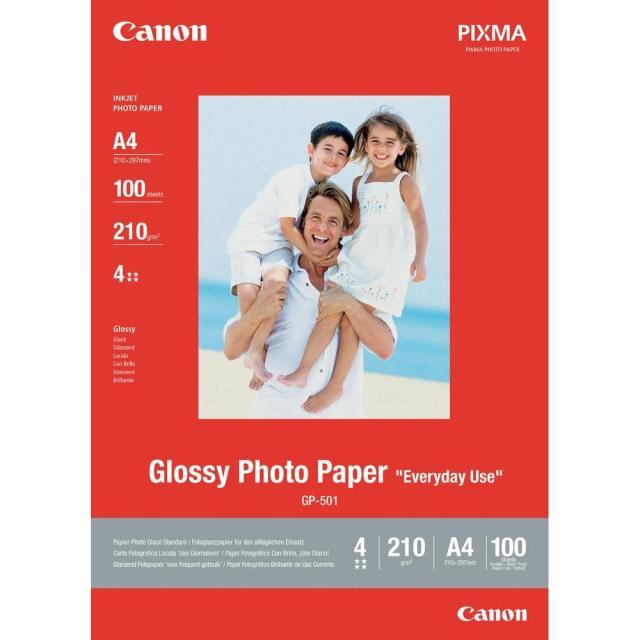 Fotopapír A4 Canon Glossy, 100 listů, 210 g/m2, lesklý, bílý, inkoustový (GP-501)