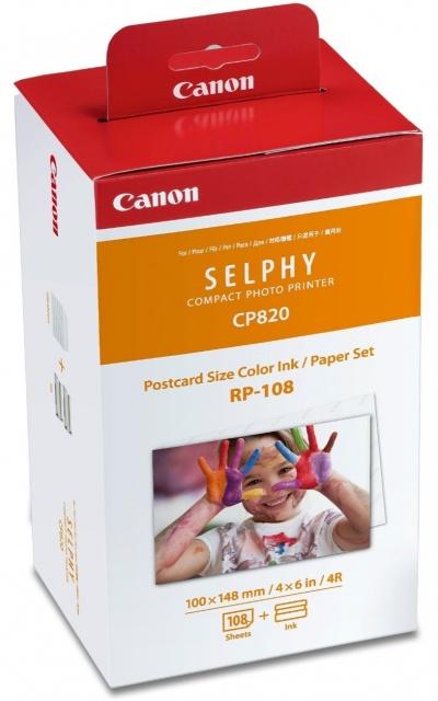 Fotopapír pro termosublimační tiskárny Canon 10x15cm, 108ks (RP-108)