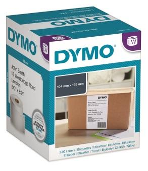 Originální etikety DYMO S0904980, extra velké štítky na balíky, 10cm x 15cm, černý tisk na bílém podkladu, 220ks