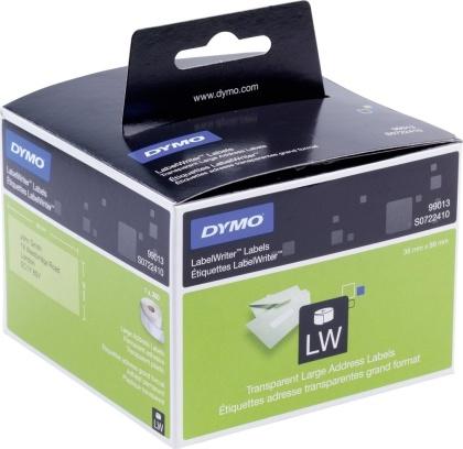Originální etikety DYMO 99013 (S0722410), velké adresní průhledné štítky, 89mm x 36mm, 260ks