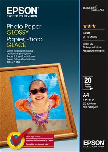Fotopapír A4 Epson Glossy, 20 listů, 200 g/m2, lesklý, bílý, inkoustový (C13S042538)