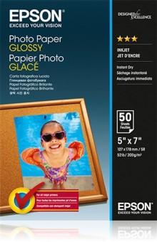 Fotopapír 13x18cm Epson Glossy, 50 listů, 200 g/m2, lesklý, bílý, inkoustový (C13S042545)