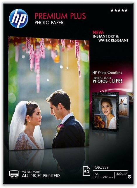 Fotopapír A4 HP Premium Plus Glossy, 50 listů, 300 g/m2, lesklý, bílý, inkoustový (CR674A)