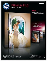 Fotopapír 13x18cm HP Premium Plus Glossy, 20 listů, 300 g/m2, lesklý, bílý, inkoustový, bez okraje (CR676A)