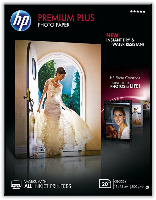 Fotopapír 13x18cm HP Premium Plus Glossy, 20 listů, 300 g/m2, lesklý, bílý, inkoustový, bez okraje (