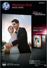 Fotopapír 10x15cm HP Premium Plus Glossy, 25 listů, 300 g/m2, lesklý, bílý, inkoustový, bez okraje (CR677A)