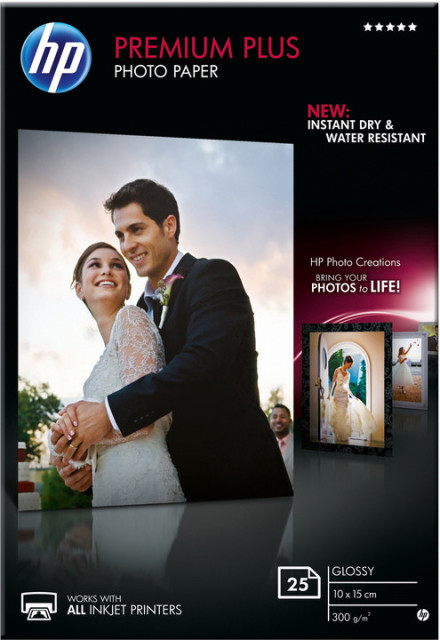 Fotopapír 10x15cm HP Premium Plus Glossy, 25 listů, 300 g/m2, lesklý, bílý, inkoustový, bez okraje (