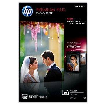 Fotopapír 10x15cm HP Premium Plus Glossy, 50 listů, 300 g/m2, lesklý, bílý, inkoustový, (CR695A)