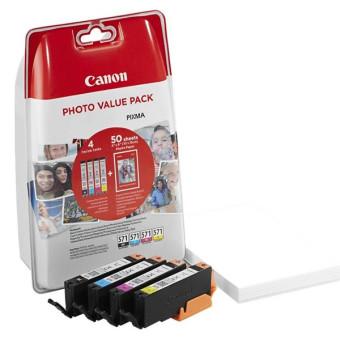 Sada originálních cartridge Canon CLI-571 (0386C006) (Černá a barevné) + fotopapír