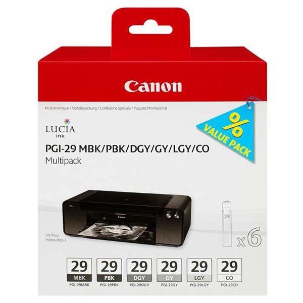 Sada originálních cartridge Canon PGI-29 MBK/PBK/DGY/GY/LGY/CO