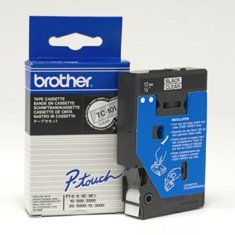 Originální páska Brother TC-101, 12mm, černý tisk na průsvitném podkladu