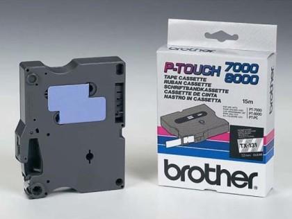 Originální páska Brother TX-131, 12mm, černý tisk na průsvitném podkladu
