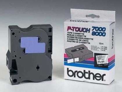 Originální páska Brother TX-141, 18mm, černý tisk na průsvitném podkladu