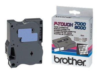 Originální páska Brother TX-151, 24mm, černý tisk na průsvitném podkladu