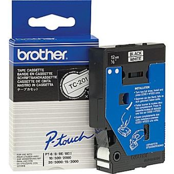 Originální páska Brother TC-201, 12mm, černý tisk na bílém podkladu