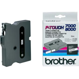Originální páska Brother TX-211, 6mm, černý tisk na bílém podkladu