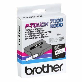 Originální páska Brother TX-221, 9mm, černý tisk na bílém podkladu