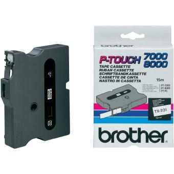 Originální páska Brother TX-231, 12mm, černý tisk na bílém podkladu