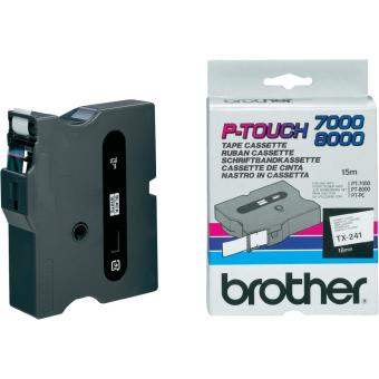 Originální páska Brother TX-241, 18mm, černý tisk na bílém podkladu