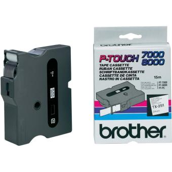 Originální páska Brother TX-251, 24mm, černý tisk na bílém podkladu
