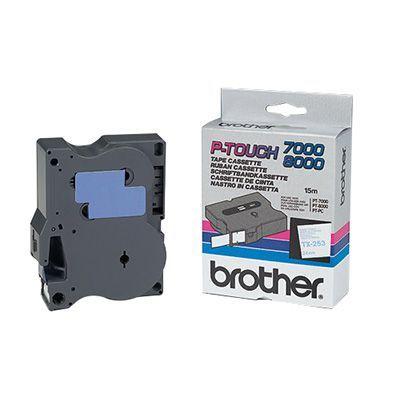 Originální páska Brother TX-253, 24mm, modrý tisk na bílém podkladu