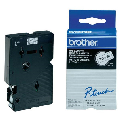 Originální páska Brother TC-291, 9mm, černý tisk na bílém podkladu