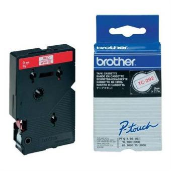 Originální páska Brother TC-292, 9mm, červený tisk na bílém podkladu