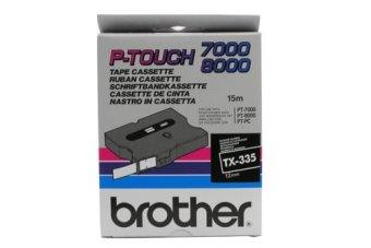 Originální páska Brother TX-335, 12mm, bílý tisk na černém podkladu