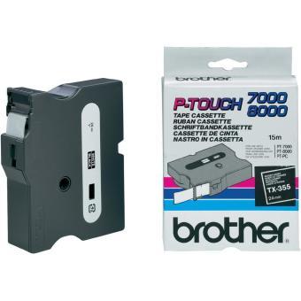 Originální páska Brother TX-355, 24mm, bílý tisk na černém podkladu
