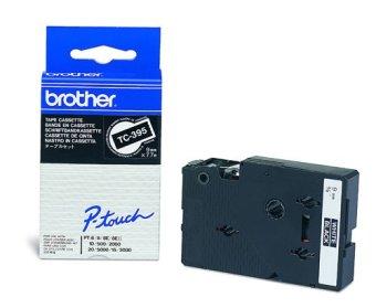Originální páska Brother TC-395, 9mm, bílý tisk na černém podkladu