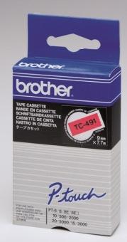 Originální páska Brother TC-491, 9mm, černý tisk na červeném podkladu