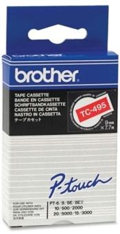 Originální páska Brother TC-495, 9mm, bílý tisk na červeném podkladu